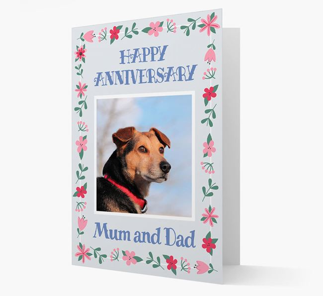 'Happy Anniversary Mum and Dad' Card with Photo of your Corgi