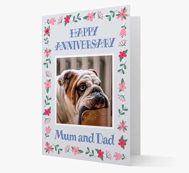 'Happy Anniversary Mum and Dad' Card with Photo of your English Bulldog