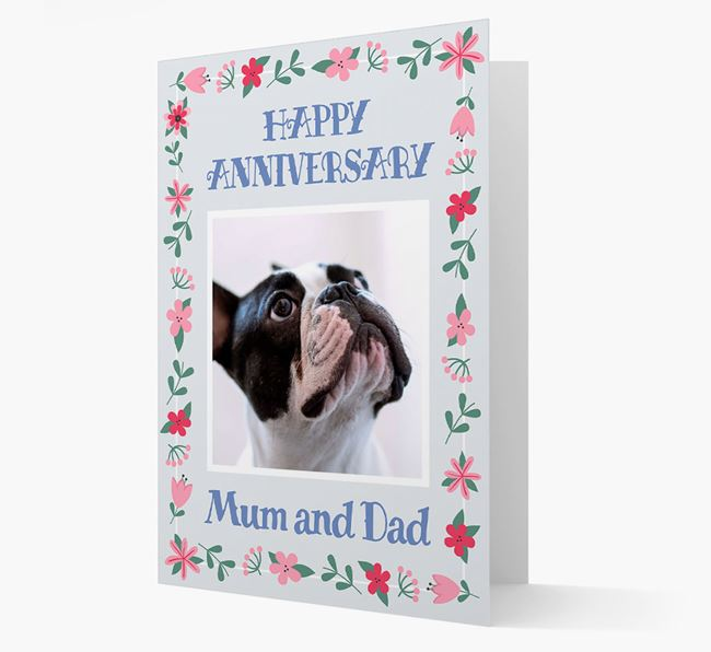 'Happy Anniversary Mum and Dad' Card with Photo of your French Bulldog