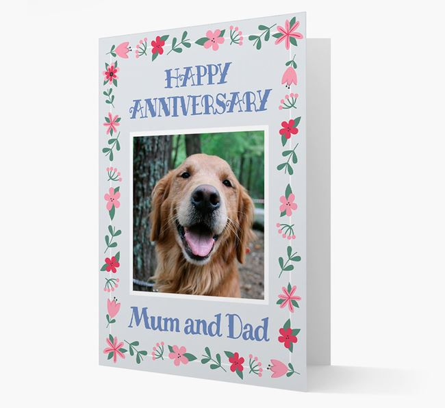 'Happy Anniversary Mum and Dad' Card with Photo of your Golden Retriever