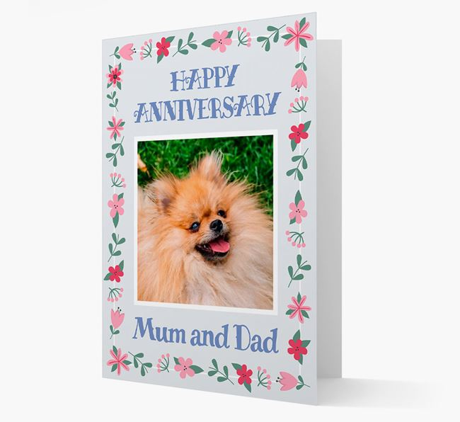 'Happy Anniversary Mum and Dad' Card with Photo of your Pomeranian