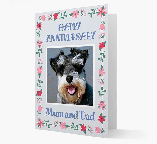 'Happy Anniversary Mum and Dad' Card with Photo of your Schnauzer