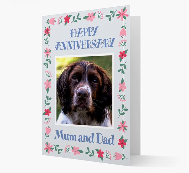 'Happy Anniversary Mum and Dad' Card with Photo of your Springer Spaniel