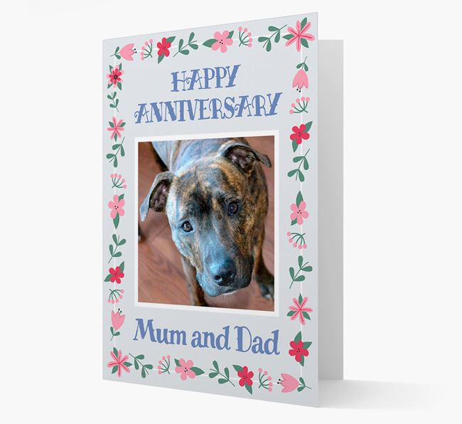 'Happy Anniversary Mum and Dad' Card with Photo of your Staffordshire Bull Terrier