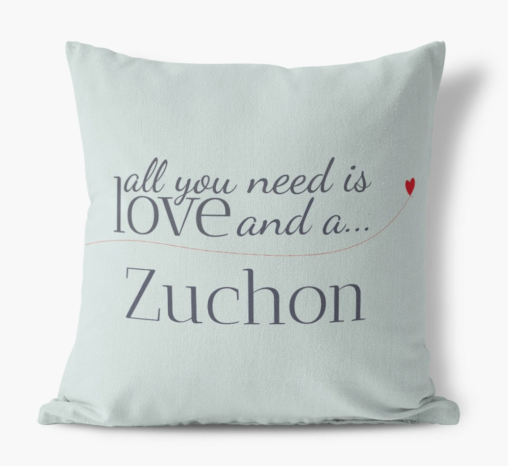 Zuchon All you need is love Canvas Pillow in {colour} front view