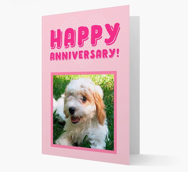 'Happy Anniversary!' Card with Photo of your Cavachon