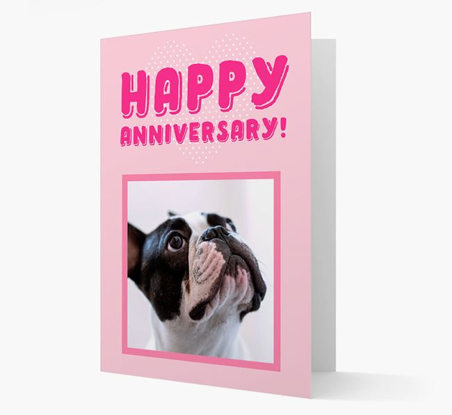'Happy Anniversary!' Card with Photo of your French Bulldog