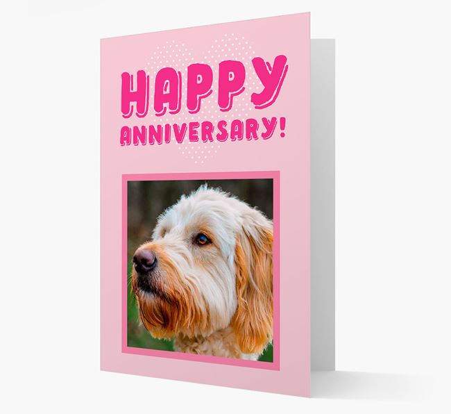 'Happy Anniversary!' Card with Photo of your Goldendoodle