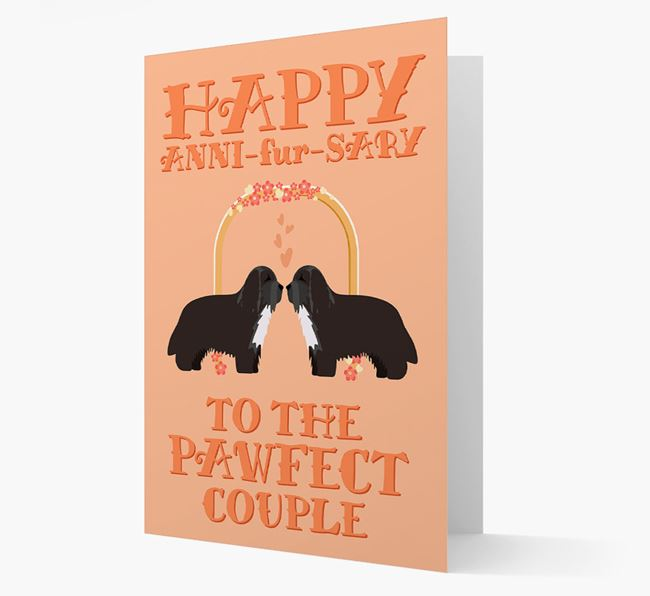 'Happy ANNI-fur-SARY' Card with Bearded Collie Icon