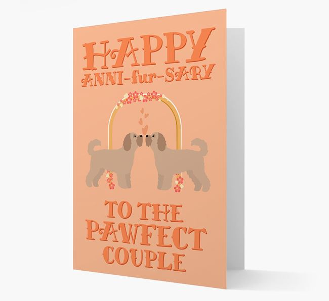 'Happy ANNI-fur-SARY' Card with Cavapoochon Icon