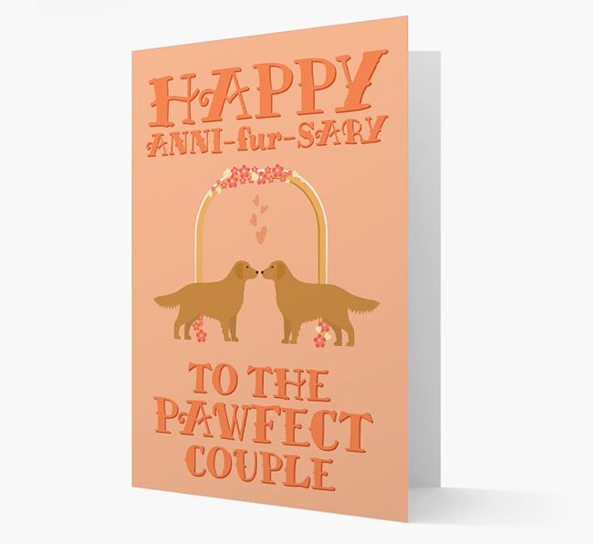 'Happy ANNI-fur-SARY' Card with Golden Retriever Icon