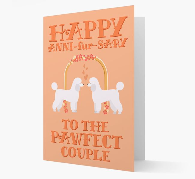 'Happy ANNI-fur-SARY' Card with Miniature Poodle Icon