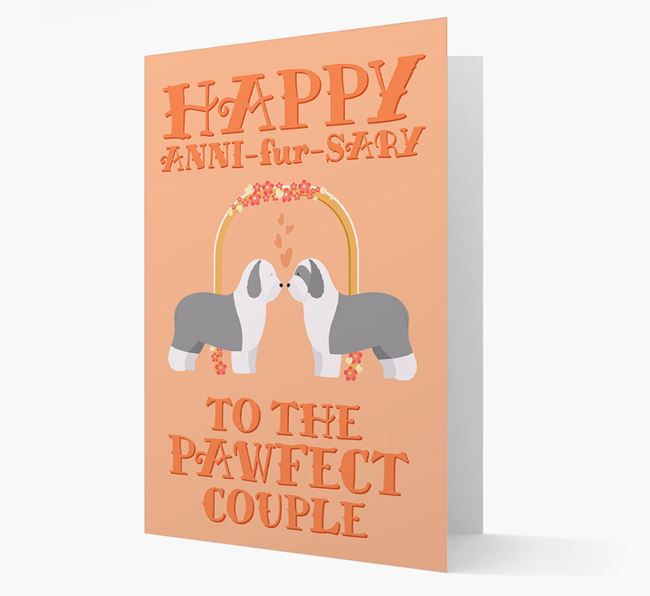 'Happy ANNI-fur-SARY' Card with Old English Sheepdog Icon