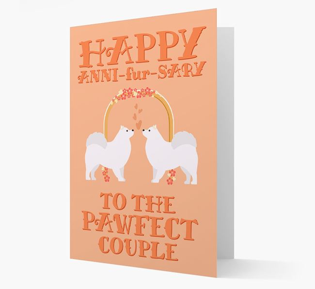 'Happy ANNI-fur-SARY' Card with Samoyed Icon