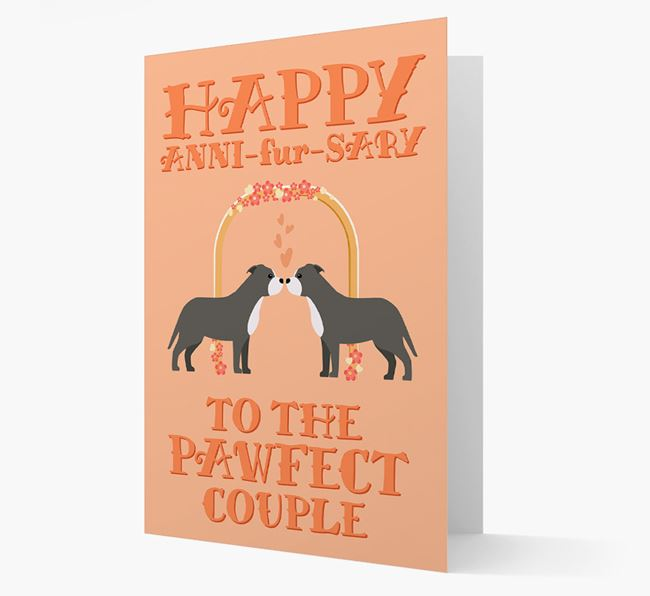 'Happy ANNI-fur-SARY' Card with Staffordshire Bull Terrier Icon