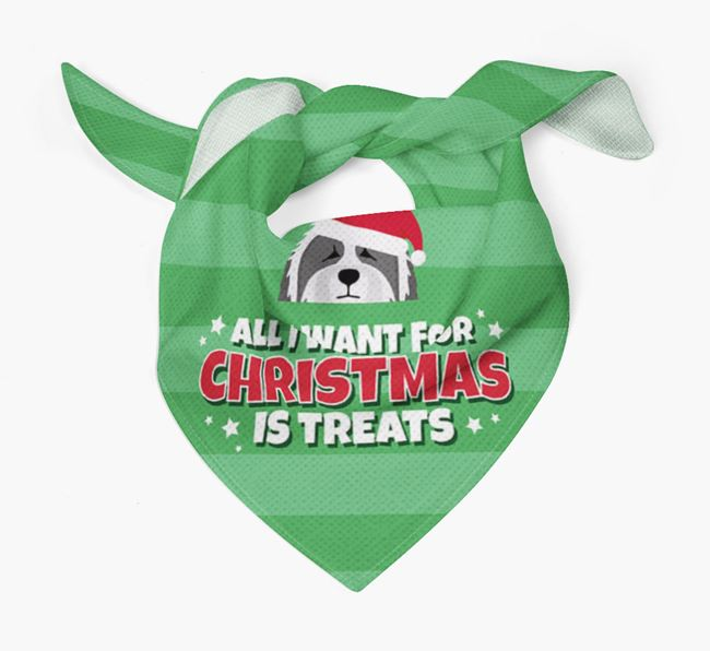 'All I Want for Christmas' - Personalized Bearded Collie Bandana
