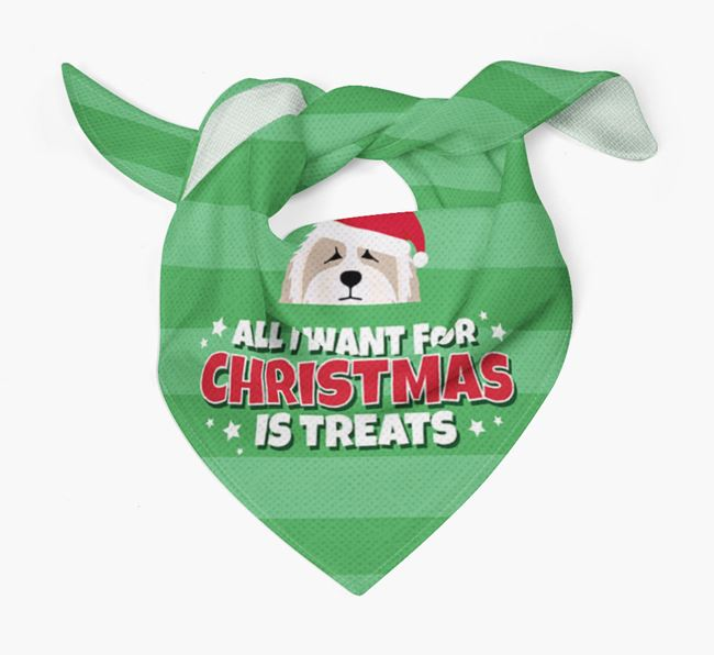 'All I Want for Christmas' - Personalised Bearded Collie Bandana