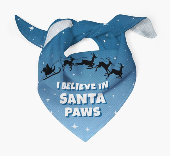 'I Believe In Santa Paws' - Personalized Bearded Collie Bandana