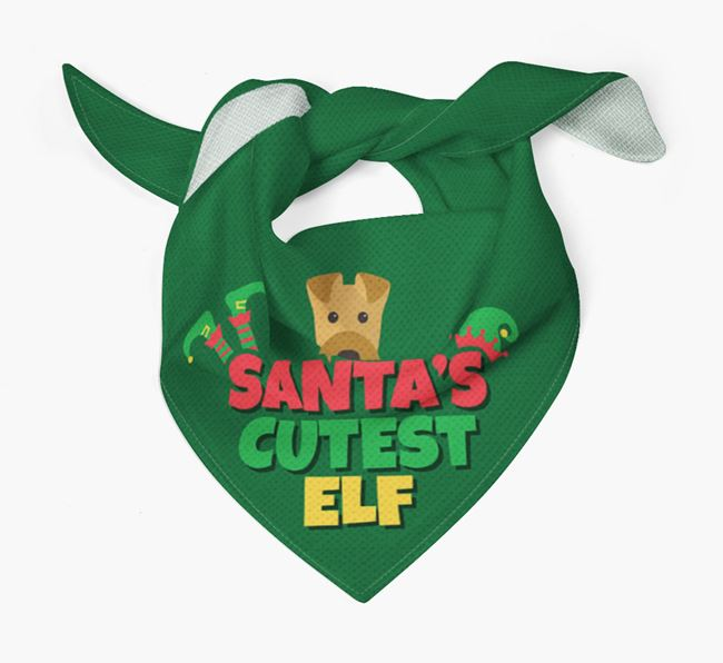 'Santa's Cutest Elf' - Personalized Airedale Terrier Bandana