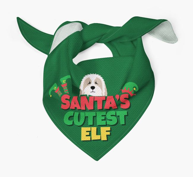 'Santa's Cutest Elf' - Personalized Bearded Collie Bandana