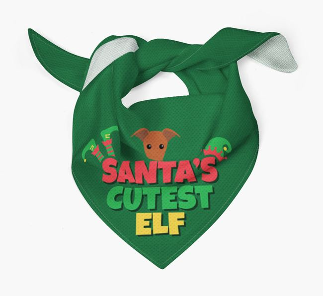 'Santa's Cutest Elf' - Personalized Whippet Bandana