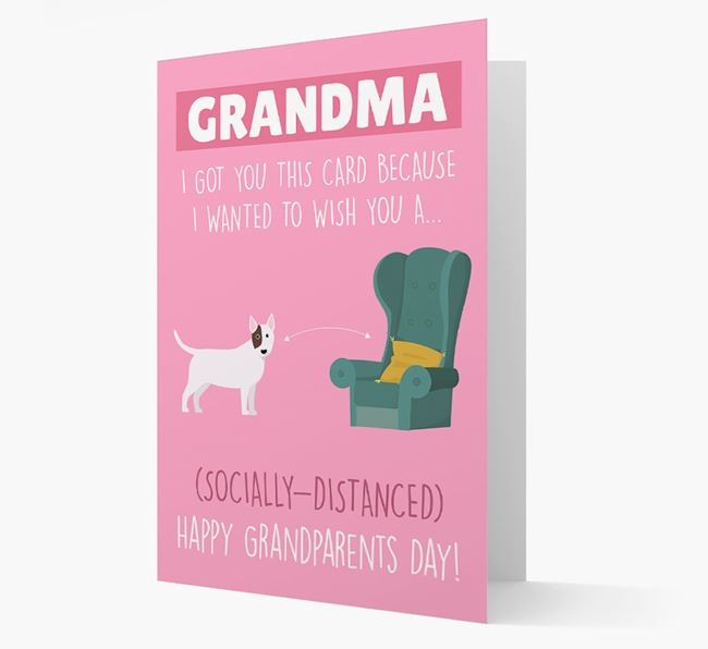 'Socially Distanced Happy Grandparents Day' Card with Bull Terrier Icon