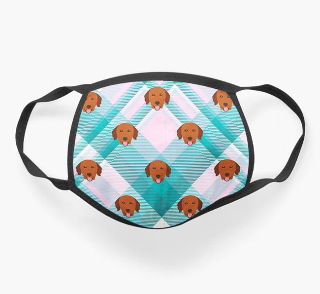 'Tartan' Face Covering with Golden Retriever Icons