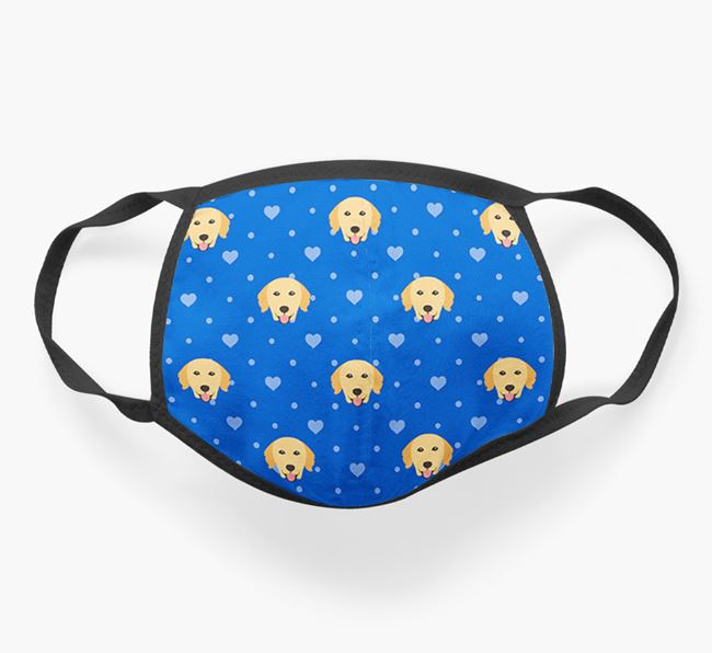 Face Covering with Golden Retriever Icons and Hearts