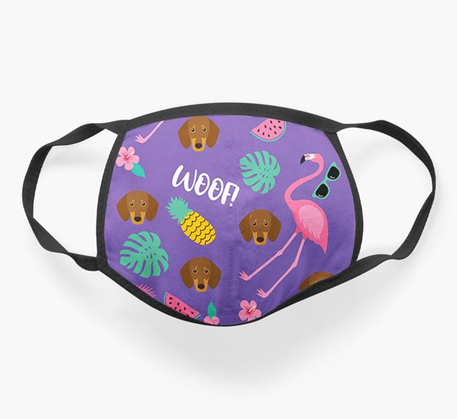 'Tropical Pattern' Face Covering with Dachshund Icon