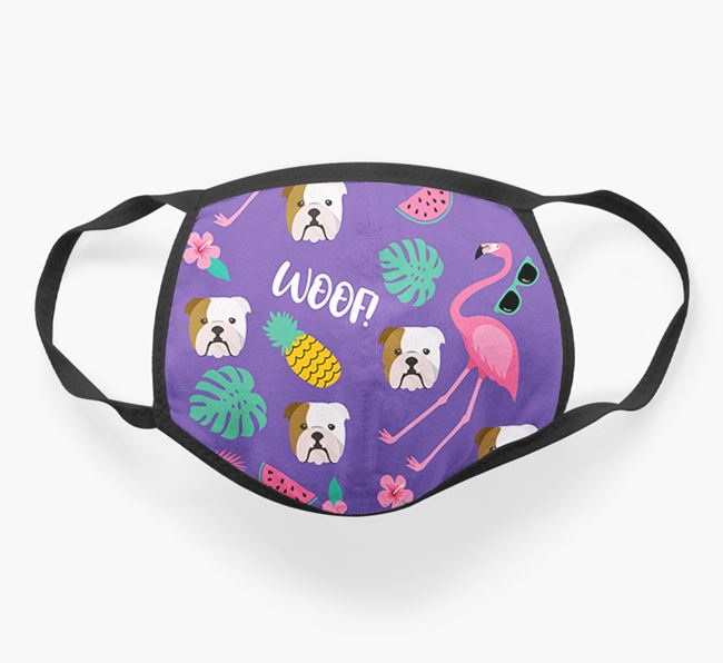 'Tropical Pattern' Face Covering with English Bulldog Icon