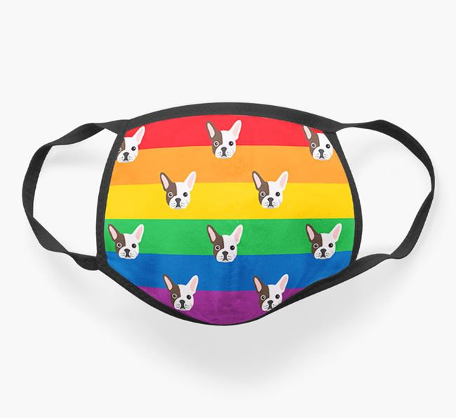 'Rainbow' Face Covering with French Bulldog Icons