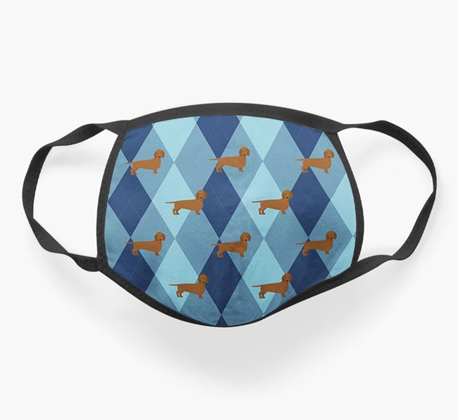 'Plaid Design' - Face Mask with Dachshund Icons