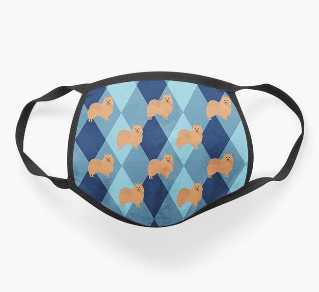'Plaid Design' - Face Mask with Pomeranian Icons