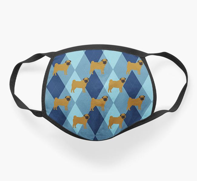 'Plaid Design' - Face Mask with Pug Icons