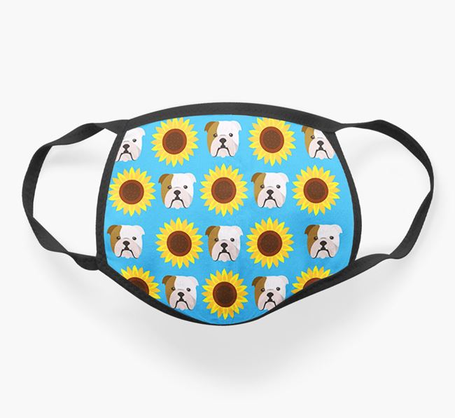 'Sunflowers' Face Covering with English Bulldog Icons