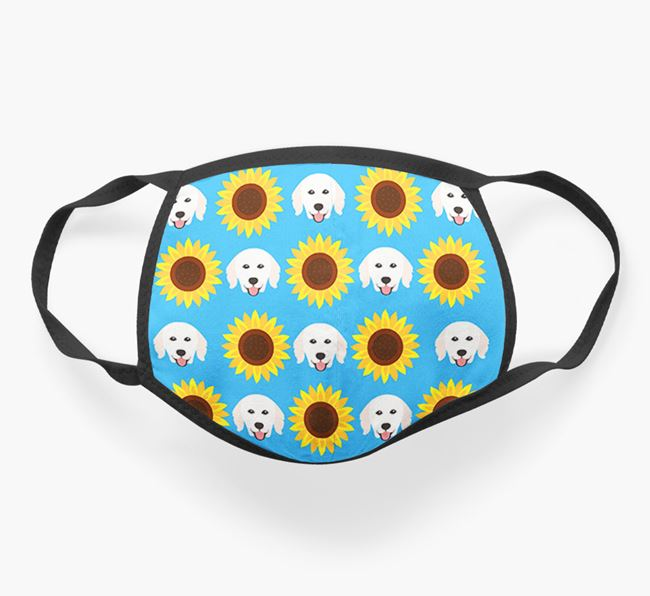 'Sunflowers' Face Covering with Hungarian Kuvasz Icons