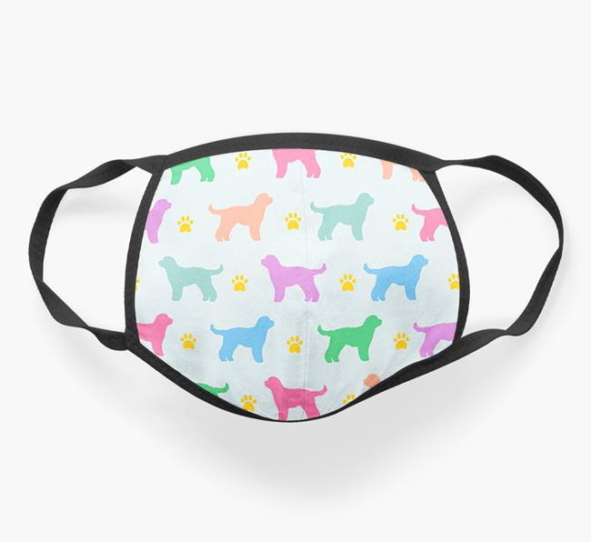 'Colorful Cockapoo Silhouette Pattern' Face Mask
