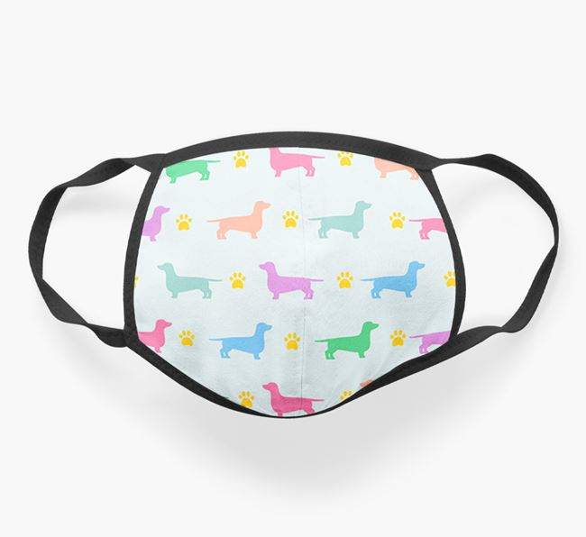 'Colorful Dachshund Silhouette Pattern' Face Mask