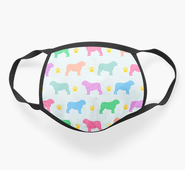 'Colourful English Bulldog Silhouette Pattern' Face Covering