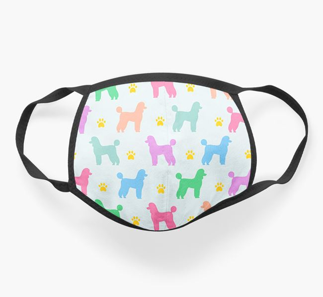 'Colourful Poodle Silhouette Pattern' Face Covering
