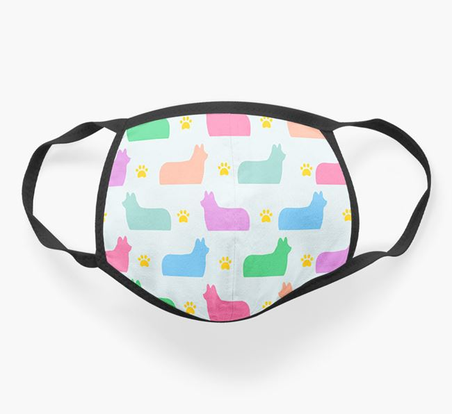 'Colorful Skye Terrier Silhouette Pattern' Face Mask