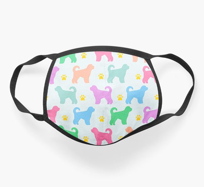 'Colorful Spanish Water Dog Silhouette Pattern' Face Mask