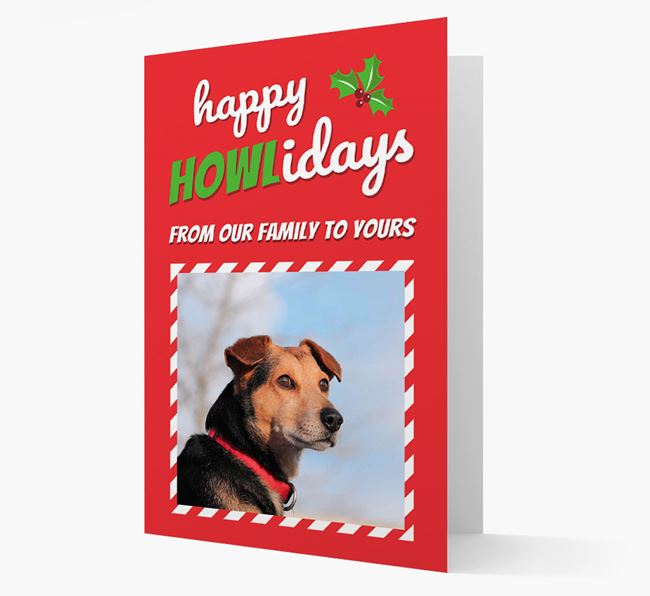 'Happy Holidays!' - Flat-Coated Retriever Photo Upload Christmas Card