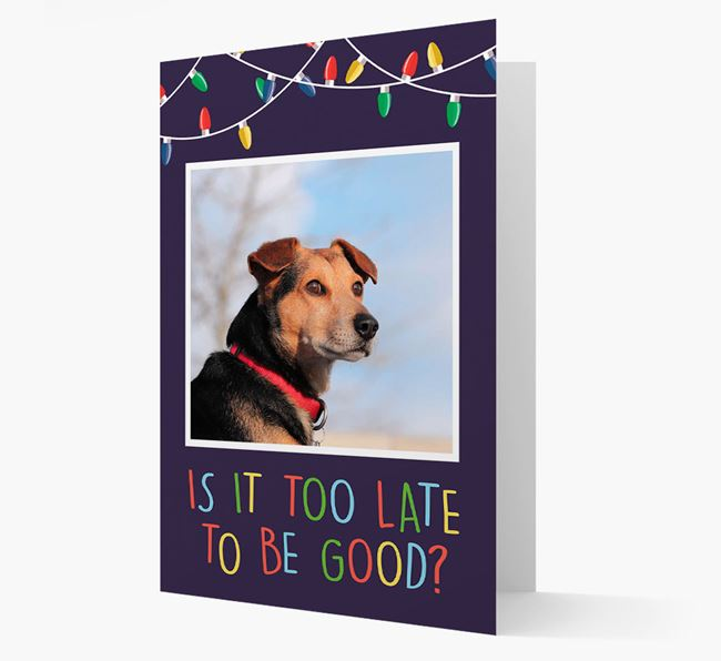 'Is it too late to be good?' - Old English Sheepdog Photo Upload Christmas Card