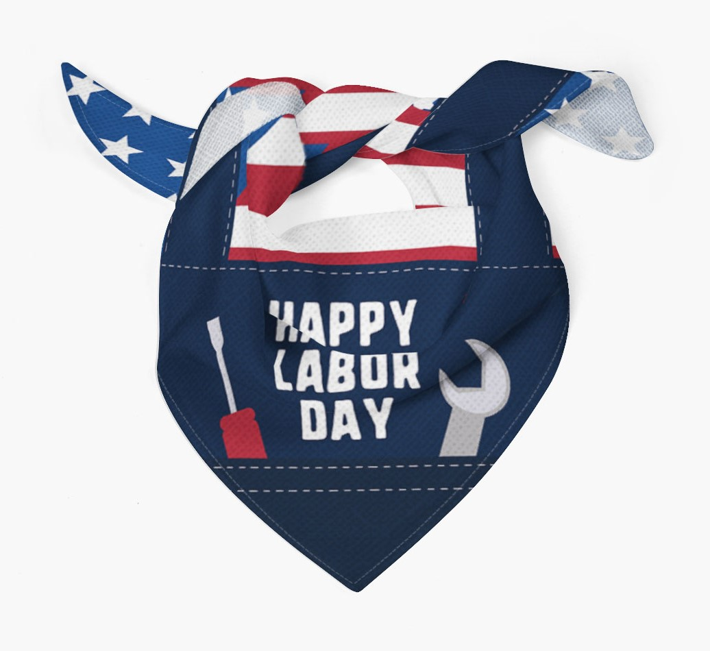 'Happy Labor Day' Bandana for your Dog Tied