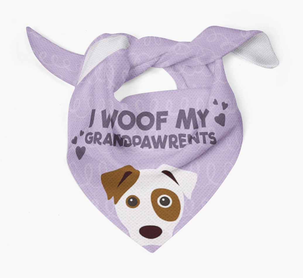 'I Woof My Grandpawrents' Bandana for your Dog Tied
