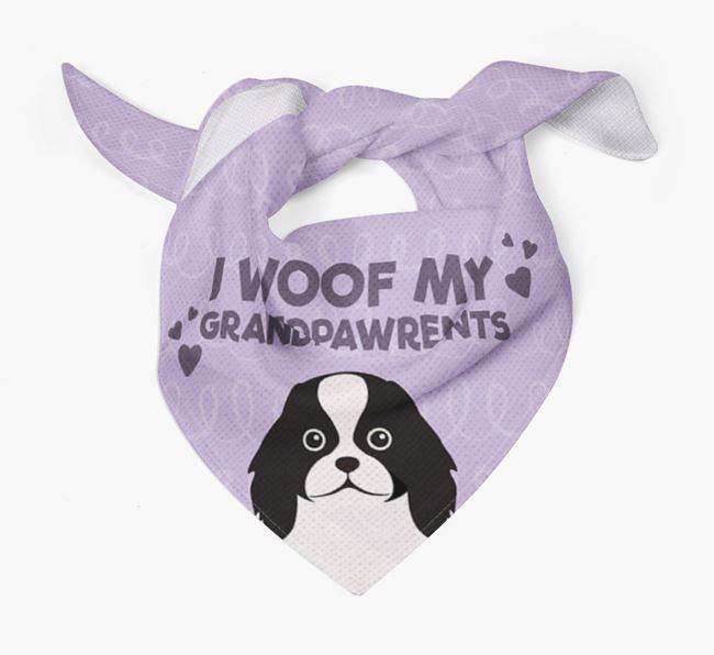 'I Woof My Grandpawrents' Bandana for your Japanese Chin