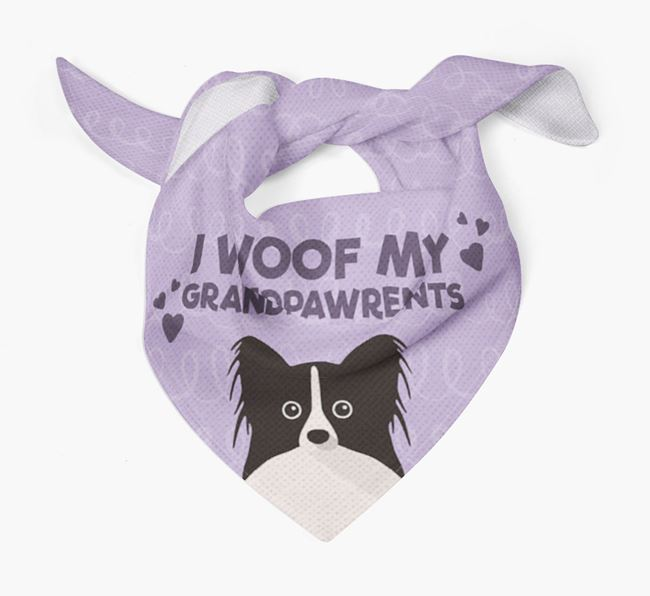 'I Woof My Grandpawrents' Bandana for your Papillon