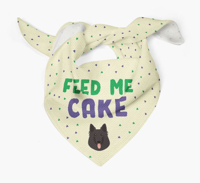 'Feed Me Cake' Bandana for your Belgian Groenendael