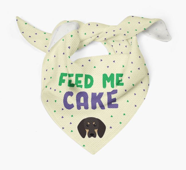'Feed Me Cake' Bandana for your Black and Tan Coonhound